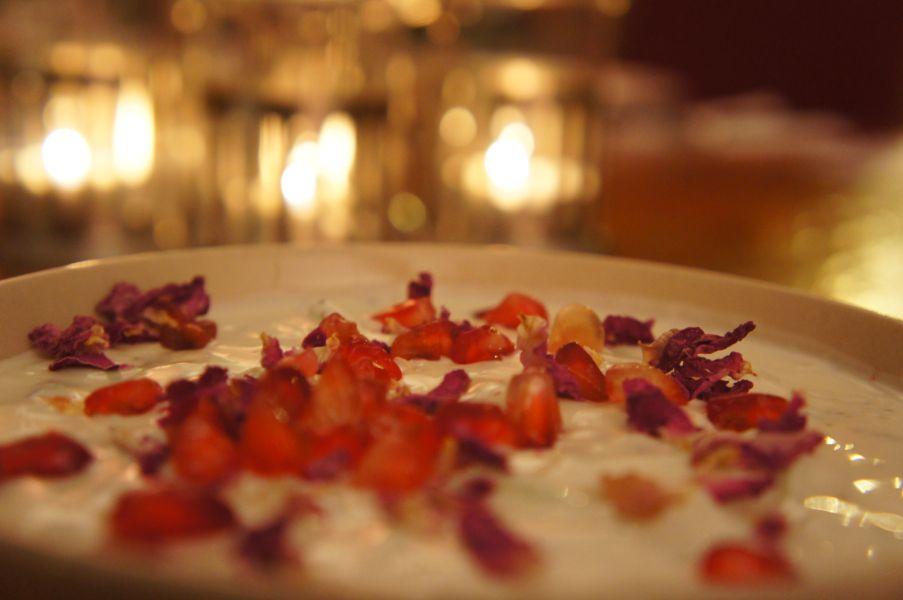 Sabrina's Maast-o-Khiar (yoghurt, cucumber and mint dip with walnut, herbs and rose petals)