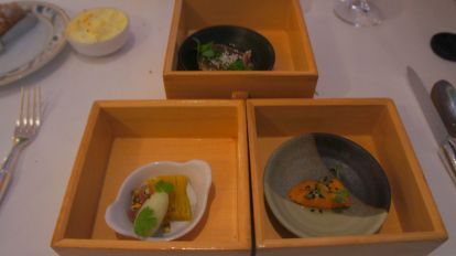 Katsuo with Cucumber & Masago Arare; Golden beet terrine, celery sorbet; Sea urchin